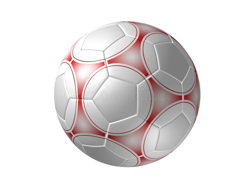 Balón de fútbol aislado, rojo imagen de archivo libre de regalías