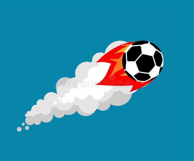 Balón de fútbol ardiente aislado Illustra del vector de la bola del fútbol del vuelo libre illustration
