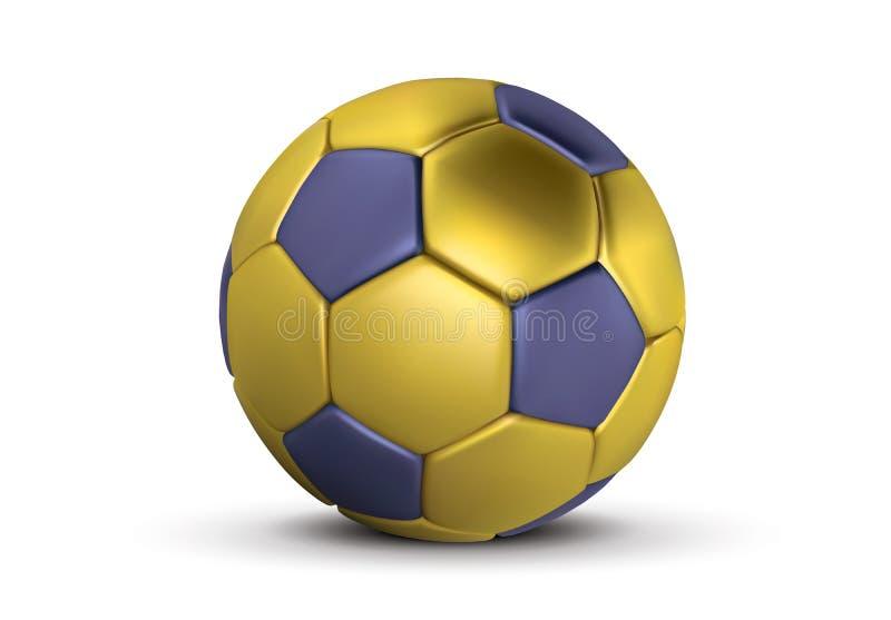 Balón de fútbol azul del oro en el fondo blanco Bola de oro realista del fútbol 3d Bola azul de bronce del fútbol stock de ilustración