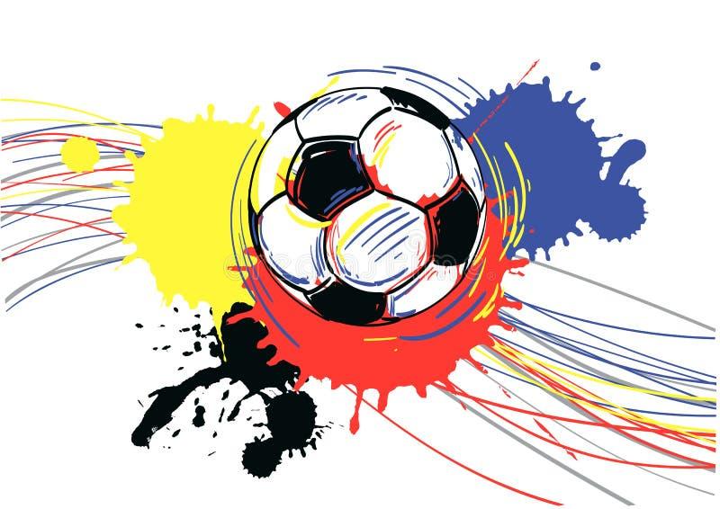 Deportes Pelotas Fondo Grunge: Balón De Fútbol, Balompié. Ilustración Del Vector
