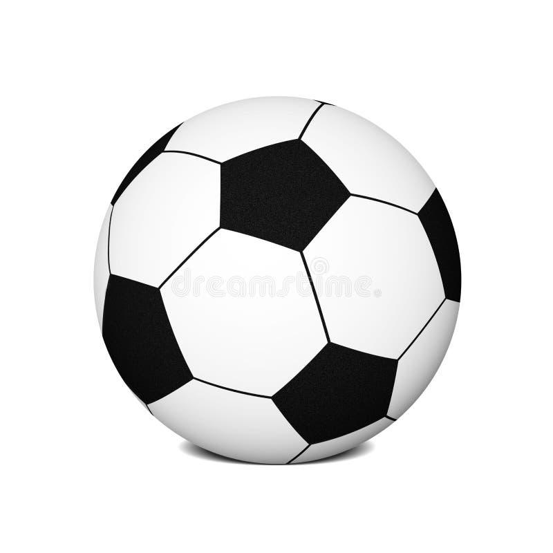 Balón de fútbol/bola del pie (colocada en la tierra) ilustración del vector