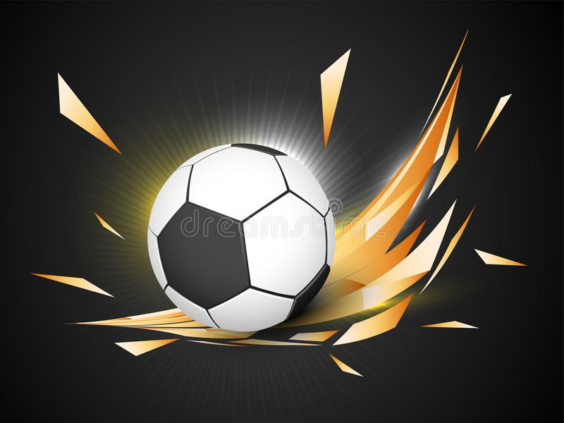 Balón de fútbol brillante en fondo de oro ilustración del vector