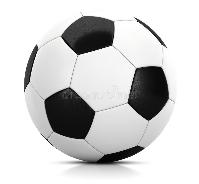 Balón de fútbol clásico en estudio con el ejemplo blanco del fondo 3D stock de ilustración