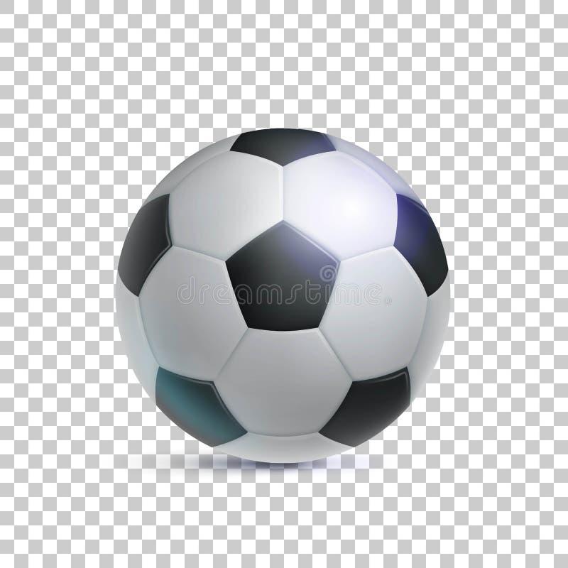 Balón de fútbol clásico, fondo realista, transparente stock de ilustración