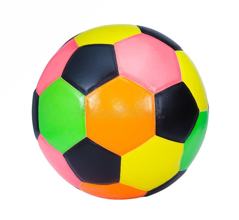 Balón de fútbol colorido aislado en el fondo blanco fotos de archivo