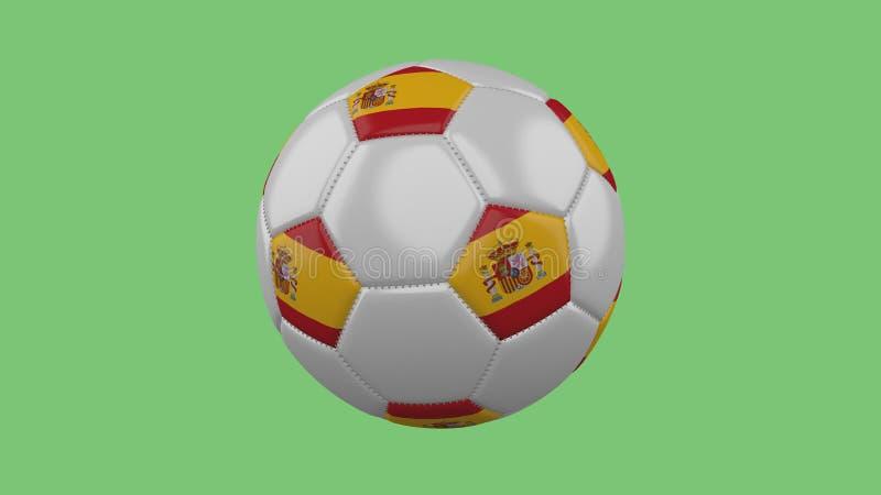 Balón de fútbol con el aislante en un fondo verde, 3D de la bandera de España con referencia a ilustración del vector