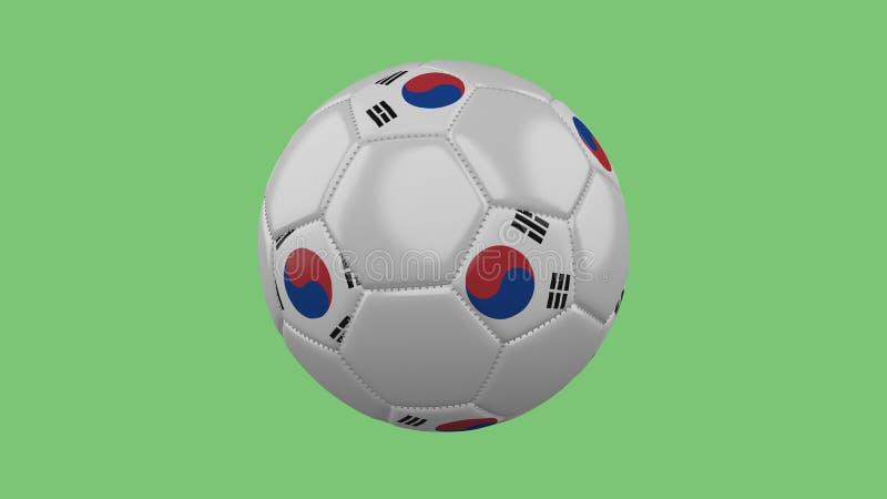 Balón de fútbol con el aislante de la bandera de la Corea del Sur en un backgro verde stock de ilustración