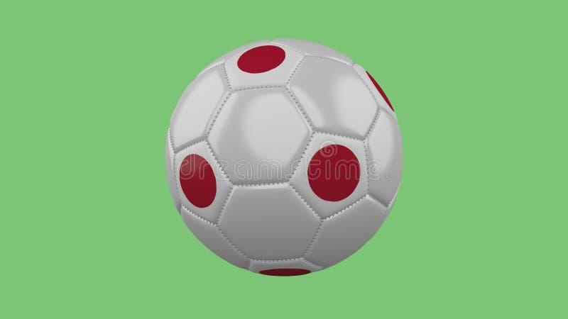 Balón de fútbol con el aislante de la bandera de Japón en un fondo verde, 3 libre illustration
