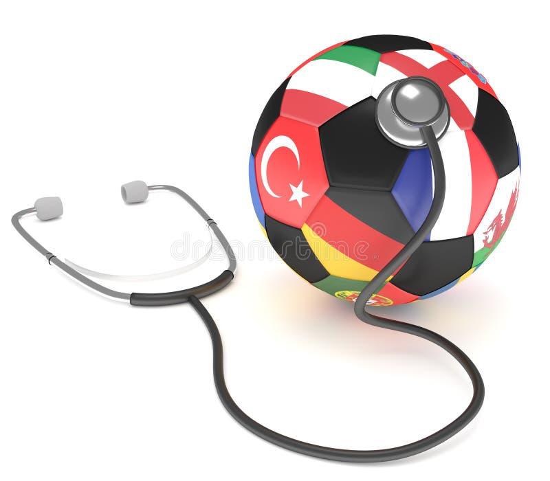 Balón de fútbol con el segmento que representa a los equipos nacionales europeos por su bandera y un estetoscopio imagen de archivo