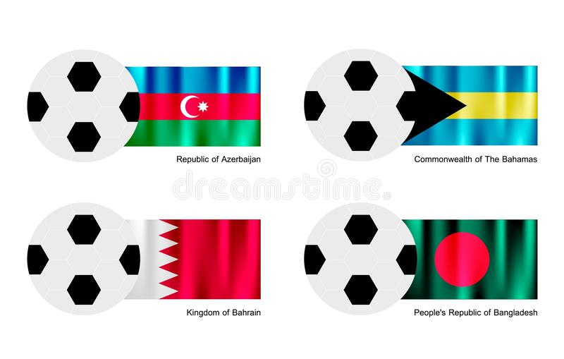Balón de fútbol con la bandera de Azerbaijan, de Bahamas, de Bahrein y de Bangladesh stock de ilustración