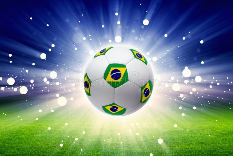 Balón de fútbol con la bandera del Brasil stock de ilustración
