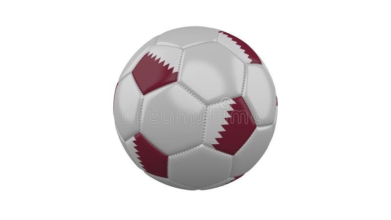 Balón de fútbol con la bandera de los colores de Qatar, representación 3d libre illustration
