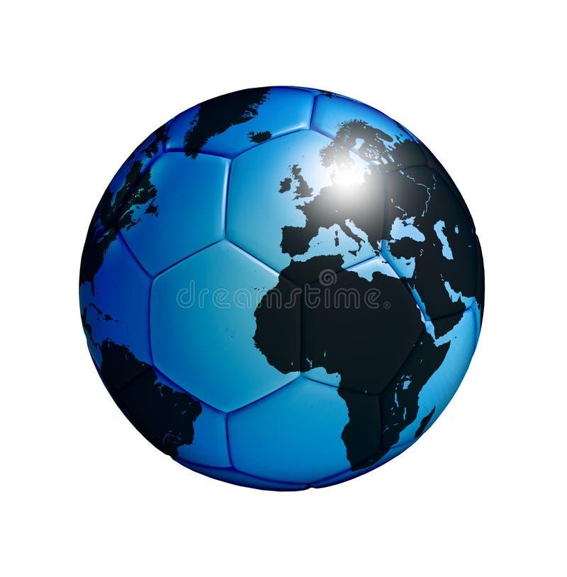 Balón de fútbol con la correspondencia de mundo aislada sobre blanco stock de ilustración