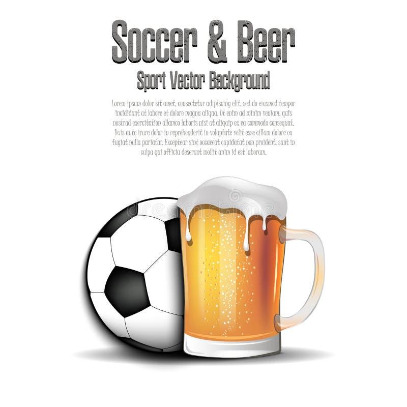 Balón de fútbol con la taza de cerveza stock de ilustración