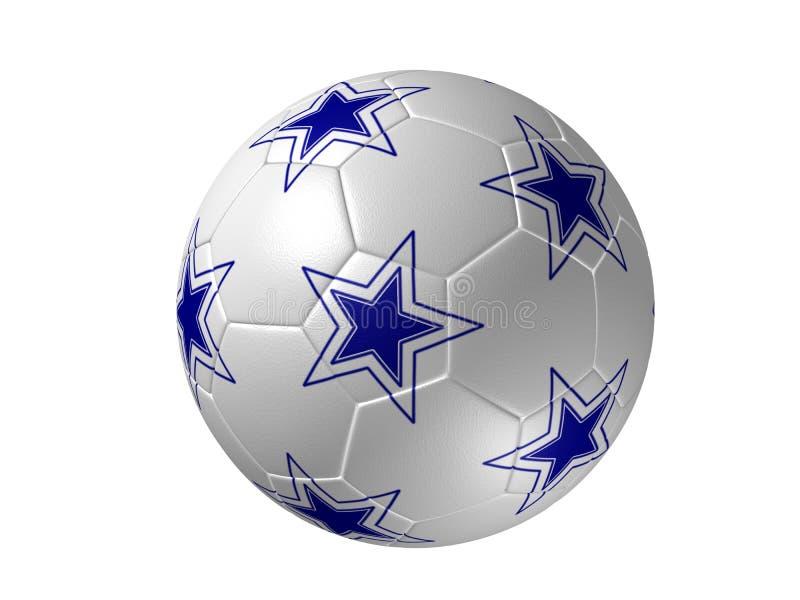 Balón de fútbol con las estrellas, azul aislado fotografía de archivo