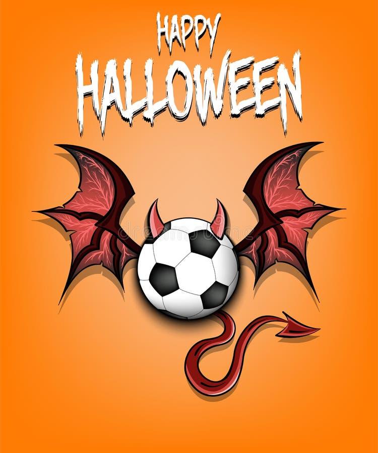 Balón de fútbol con los cuernos, las alas y la cola del diablo stock de ilustración