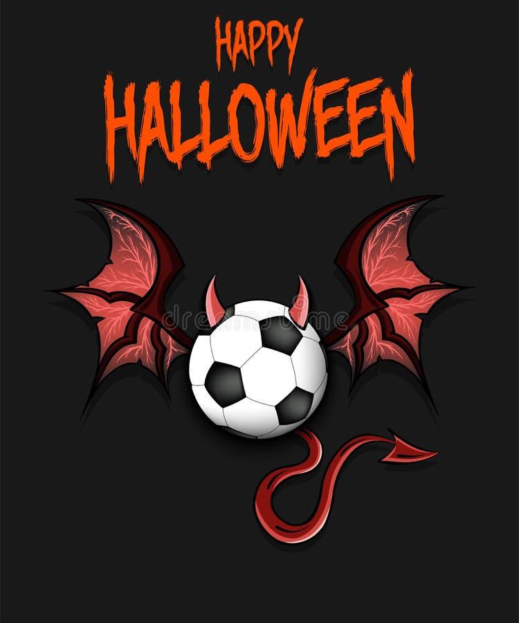 Balón de fútbol con los cuernos, las alas y la cola del diablo libre illustration
