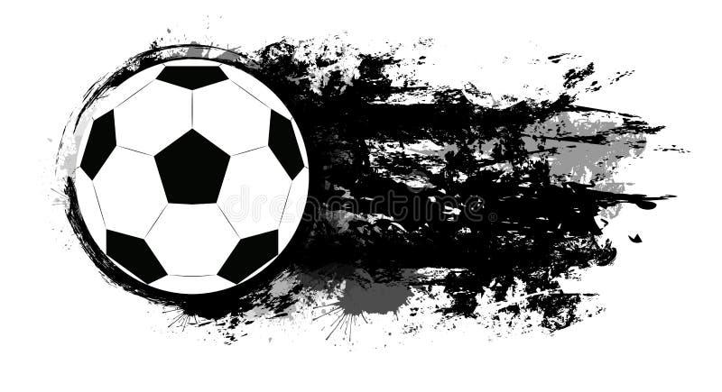 Balón de fútbol con los desgastes del grunge, las manchas de la tinta y el espacio para el texto El objeto est? a parte del fondo ilustración del vector
