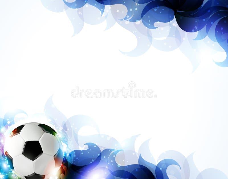 Balón de fútbol con los pétalos azules abstractos stock de ilustración