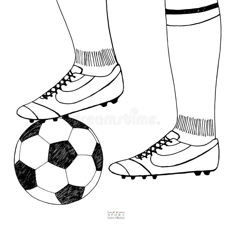 Balón de fútbol debajo de la bota del jugador Bosquejo drenado mano Línea negra en el fondo blanco Ejemplo del vector de la colec libre illustration