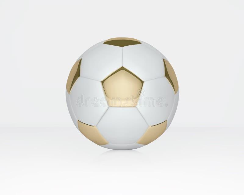 Balón de fútbol del blanco y del oro en el fondo blanco Bola de oro del balompié ilustración del vector