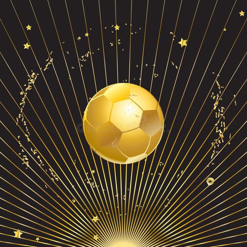 Balón de fútbol del campeón del oro stock de ilustración