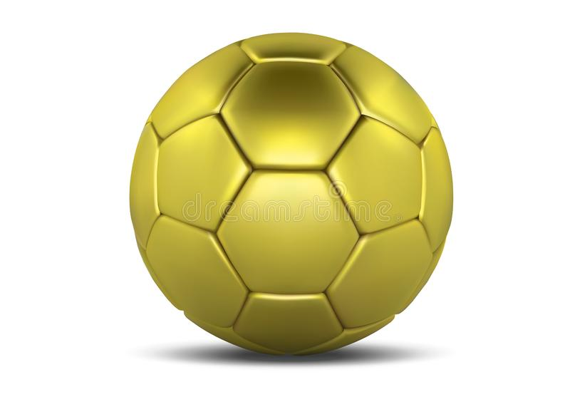 Balón de fútbol del oro aislado en el fondo blanco Bola de oro del balompié Balón de fútbol 3d stock de ilustración