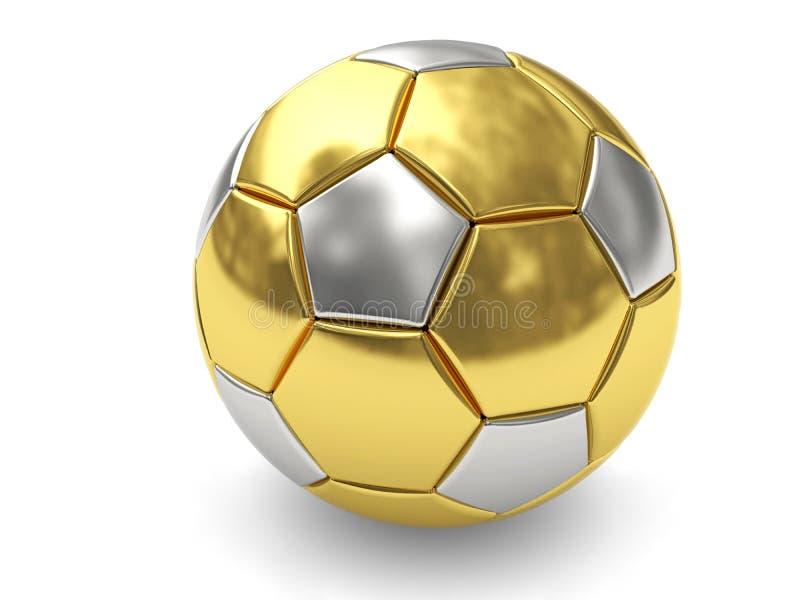 Balón de fútbol del oro en el fondo blanco ilustración del vector