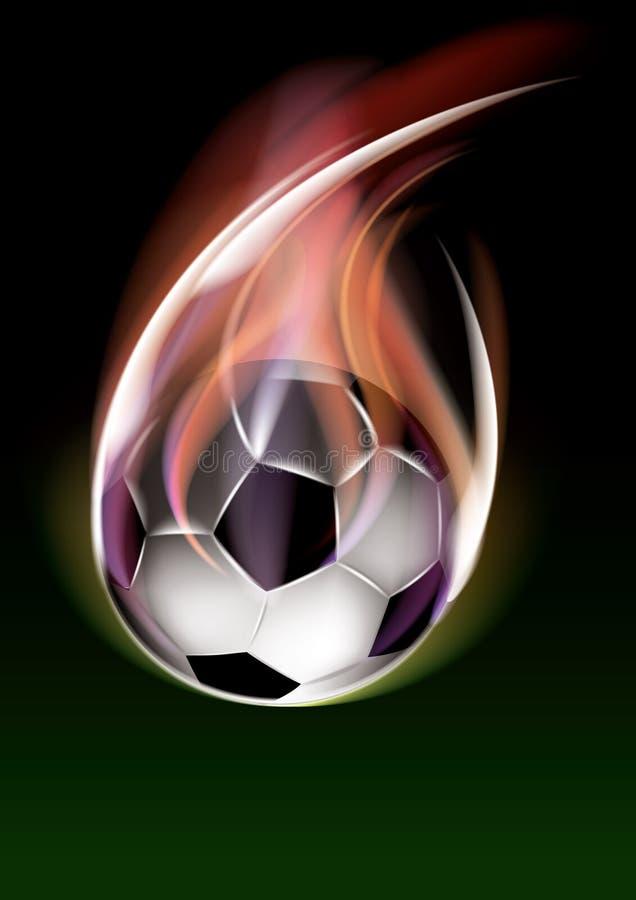 Balón de fútbol del vuelo stock de ilustración