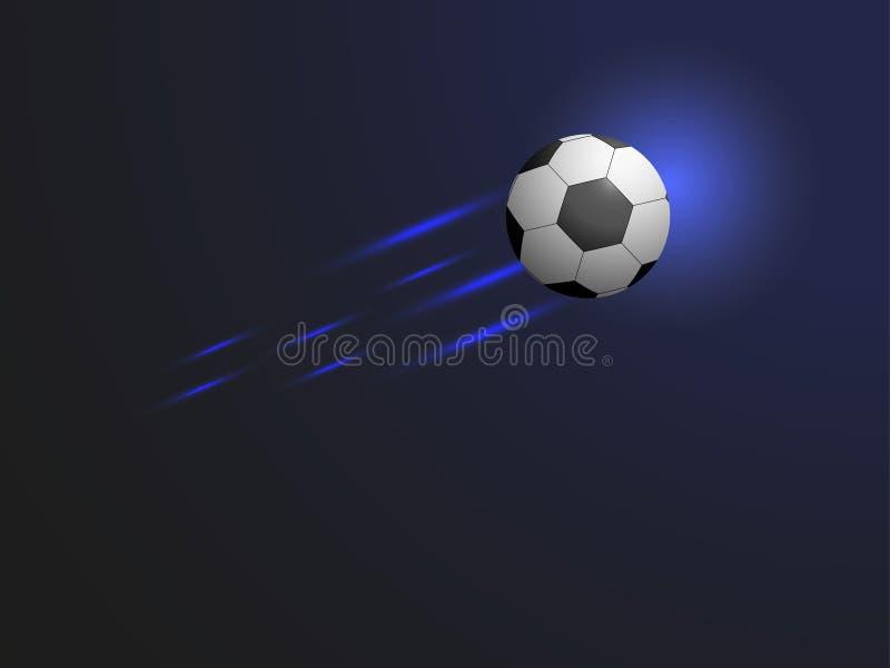 Balón de fútbol del vuelo en fondo azul Ilustración del vector stock de ilustración