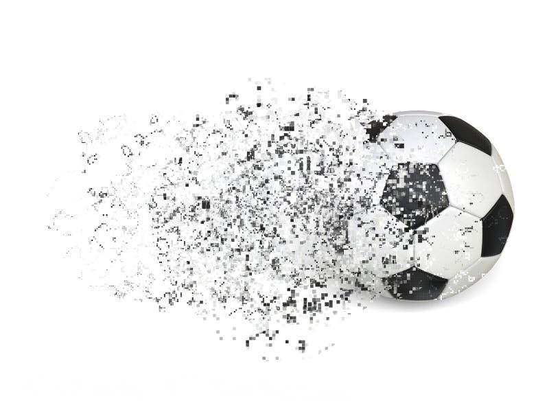 Balón de fútbol - efecto de la desintegración del pixel ilustración del vector
