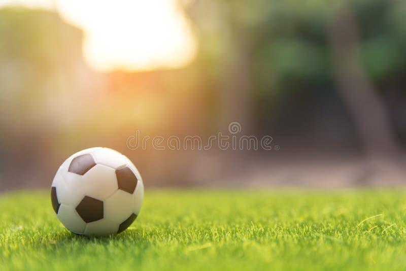 Balón de fútbol en campo verde de hierba con el espacio de la copia fotografía de archivo