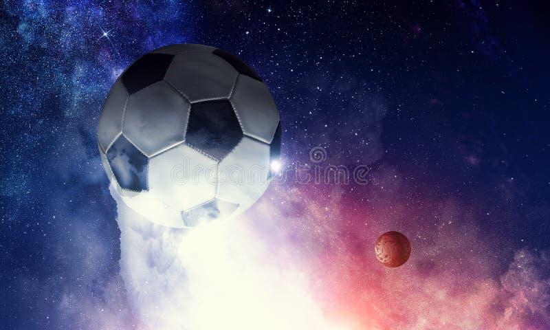 Balón de fútbol en cosmos stock de ilustración