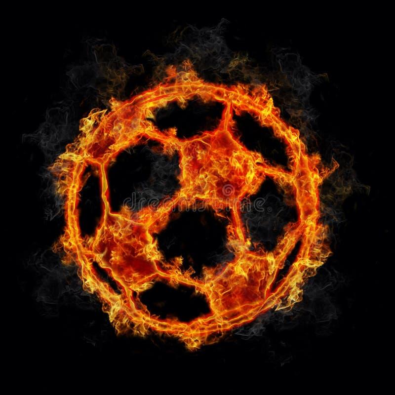 Balón de fútbol en el fuego stock de ilustración