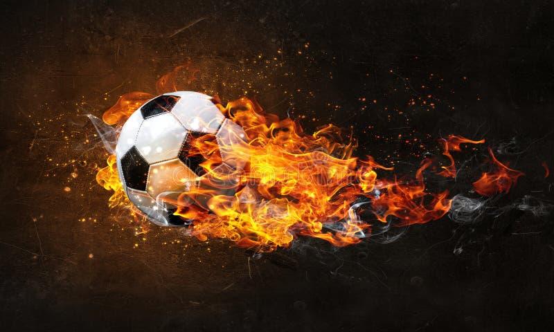 Balón de fútbol en el fuego libre illustration