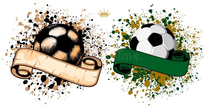 Balón de fútbol en fondo del grunge ilustración del vector