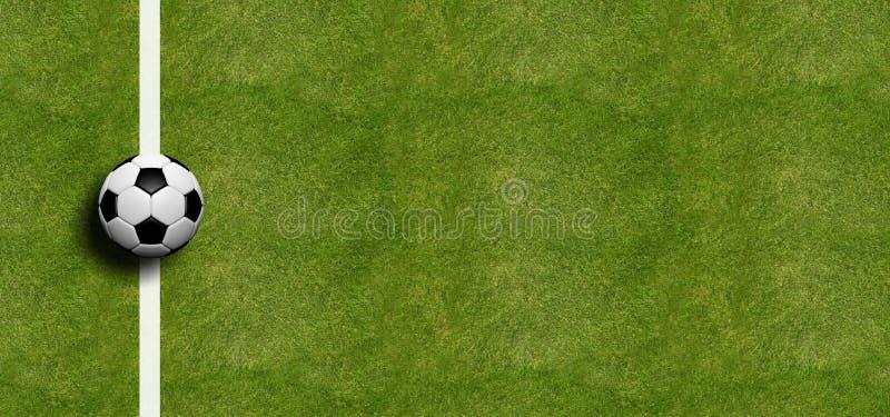 Balón de fútbol en fondo de la hierba del campo ilustración 3D stock de ilustración
