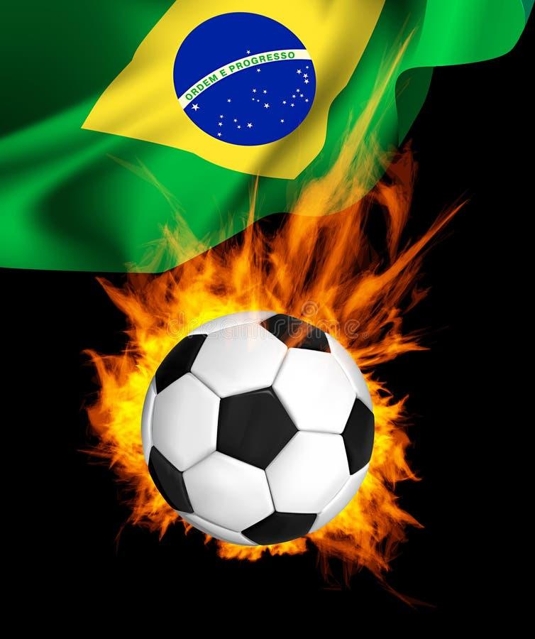 Balón de fútbol en fuego ilustración del vector
