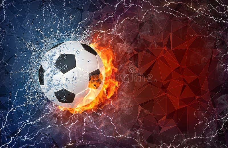 Balón de fútbol en fuego y agua stock de ilustración