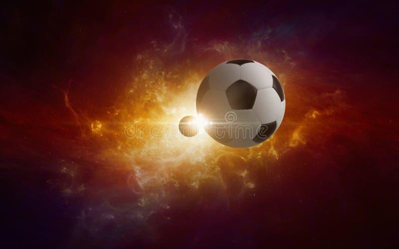 Balón de fútbol en galaxia torcida que brilla intensamente ilustración del vector