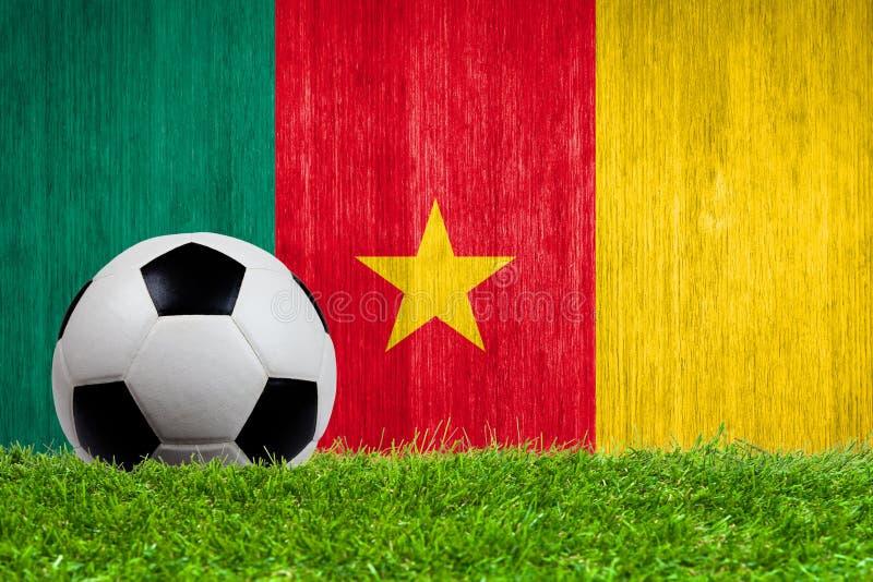 Balón de fútbol en hierba con el fondo de la bandera del Camerún fotografía de archivo libre de regalías