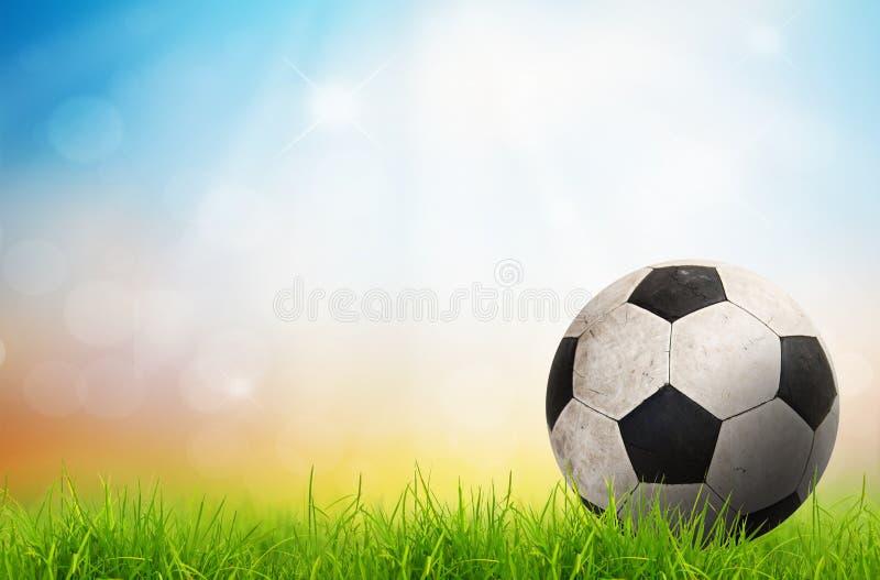 Balón de fútbol en hierba verde imagen de archivo libre de regalías