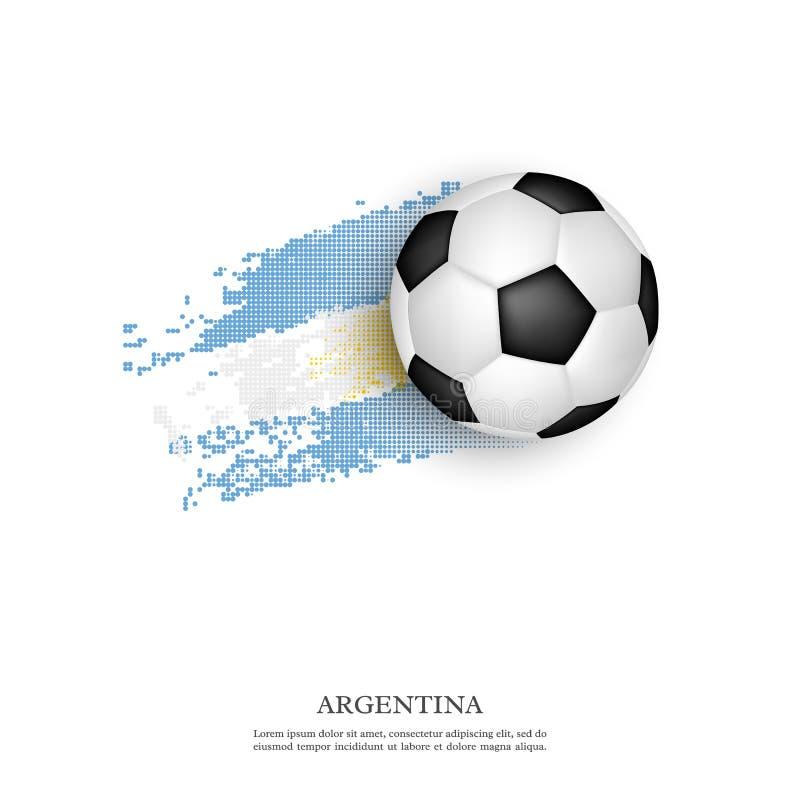 Balón de fútbol en la bandera de la Argentina stock de ilustración