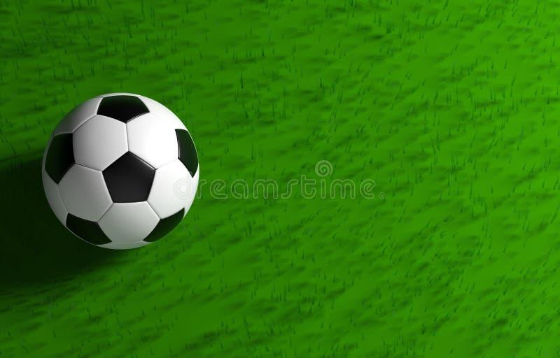 Balón de fútbol en la opinión superior de la hierba ilustración del vector