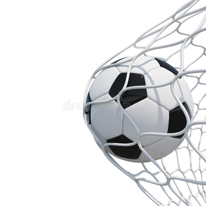 Balón de fútbol en red en el fondo blanco libre illustration