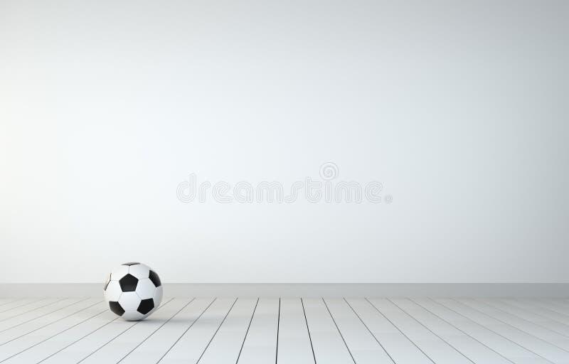 Balón de fútbol en sitio con el piso de madera ilustración del vector