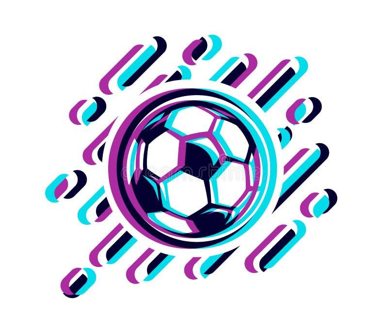 Balón de fútbol en un ejemplo del vector del efecto de la interferencia aislado en blanco Bola del fútbol en un efecto de la inte stock de ilustración