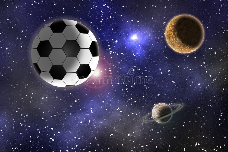 Balón de fútbol en un fondo de un paisaje del espacio stock de ilustración