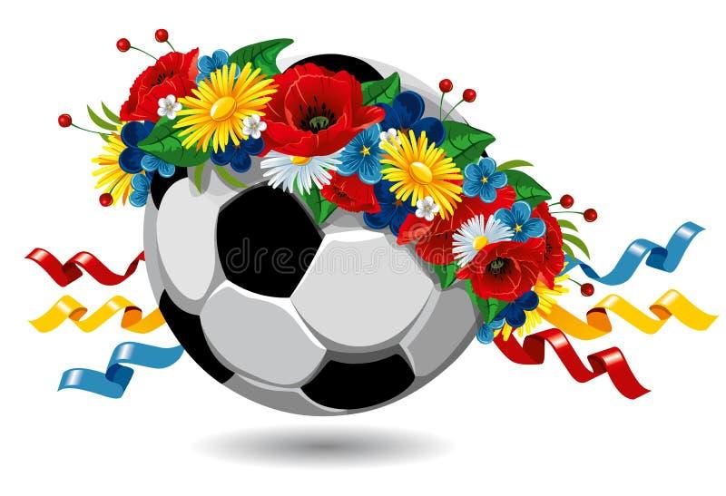 Balón de fútbol en una guirnalda de flores stock de ilustración