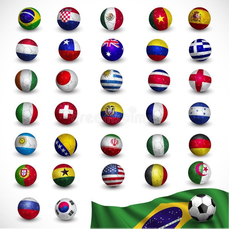 Balón de fútbol (fútbol) con la bandera el Brasil 2014, torneo del fútbol stock de ilustración